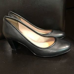 Black Leather Hush Puppies Heels